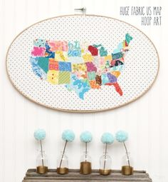 Cool Crafts  You Can Make With Fabric Scraps - Fabric US Map Hoop Art - Creative DIY Sewing Projects and Things to Do With Leftover Fabric and Even Old Clothes That Are Too Small - Ideas, Tutorials and Patterns http://diyjoy.com/diy-crafts-leftover-fabric-scraps