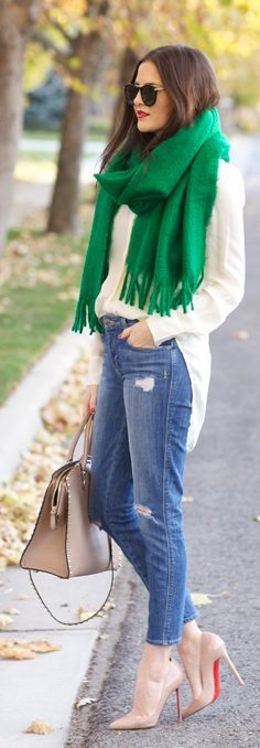 Green Italian Brushed Scarf by Pink Peonies