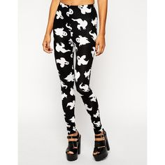 ASOS Halloween Leggings in Ghost Print ($28) ❤ liked on Polyvore featuring pants, leggings, white high waisted leggings, stretchy pants, white leggings, print pants and tall pants
