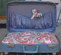 old suitcase pet bed