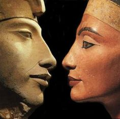 Akhenaten and Nefertiti... my favorites....Akhenaten is responsible for moving Egypt from a polytheistic to a monotheistic society. However, after his death the priests of Luxor returned to the old religion and buried his capitol, Amarna, from the face of the earth. He and Nefertiti's images, tombs, etc were defaced in an attempt to destroy any memory of them and their blasphemy.