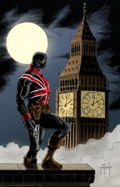 He's a huge Union Jack fan and the owner of the original art. Union Jack on the Hunt Comic Book Characters, Comic Book Heroes, Marvel Characters, Comic Character, Comic Books Art, Comic Art, Book Art, Marvel Comics Art, Marvel Vs