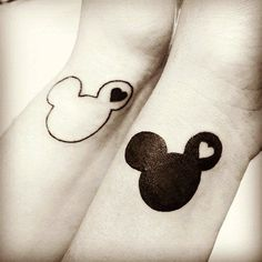 best friend Yin and Yang Disney tattoos. It was done at Blue Moon Tattoo and Piercings in Tracy, CA >>>> Sam we should get this! Cause Disney! Matching Disney Tattoos, Disney Couple Tattoos, Cute Disney Tattoos, Cute Couple Tattoos, Mickey Tattoo, Disney Sister Tattoos, Couple Disney, Mickey And Minnie Tattoos, Romantic Couples Tattoos