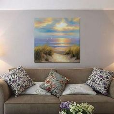 hand-painted oil painting on canvas seaside scenery modern decoration living room no frame wall art size 60cm by 60cm #OilPaintingScenery