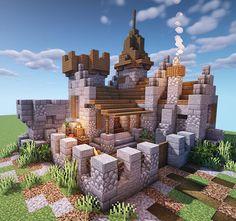 Casa Medieval Minecraft, Minecraft Farm, Cute Minecraft Houses, Minecraft Plans, Minecraft House Designs, Amazing Minecraft, Minecraft Tutorial, Minecraft Blueprints, Minecraft Creations