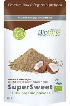 """Biotona SuperSweet 100% Organic Powder.- Der leckere Mocca farbene Zucker aus Kokosblüten ist die biologische Alternative für alle,   die mit """"süß"""" nicht raffinierten Zucker verbinden wollen. - Dieser spezielle Zucker wird schonend und aufwändig aus dem Saft der Kokosblüten hergestellt. - Auch Lucuma Rohpulver aus Peru ist in diesem Produkt enthalten."""