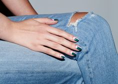 Try a graphic Blockbuster mani, no matter the length of your nails. #shortnails