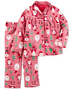 Carter's 2-Pc. Santa-Print Button-Top Pajama Set, Little Girls (2-6X) & Big Girls (7-16)
