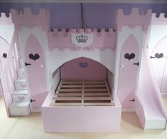 Children's Princess Castle Bunk Bed with Slide, Stairs & Wardrobes