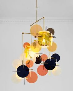 "Chandelier ""Diciotto x 4"", Vibeke Fonnesberg Schmidt.- . . . #ochre #yellow #coralpink #black #pattern #productdesign #lighting #vibekefonnesbergschmidt"