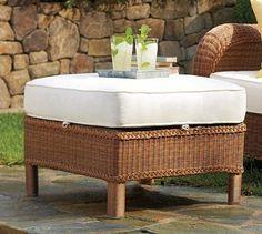 Palmetto All-Weather Wicker Ottoman - Honey #potterybarn