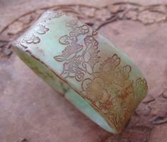 VERKOOP antieke Jade Style armband Aziatische Floral door theshagbag