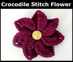 Crocodile Stitch Crochet Flower. Possibly use as accent on granny squares or on purses/bags...