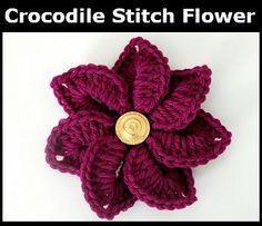 Crocodile Stitch Crochet Flower #crocodilestitch