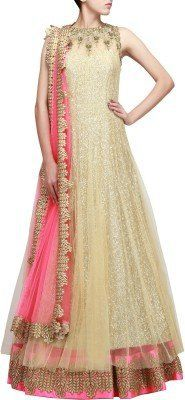 Fabtexo-Womens-Net-Princess-Cut-Dress-ZillBallLehenga-Beige-Free-Size-Gown-0