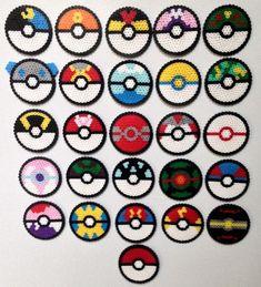 Perler Pokeball set by SoultwinSprites on Etsy 3d Pokemon, Pikachu, Pokemon Perler Beads, Diy Perler Beads, Perler Bead Art, Easy Perler Bead Patterns, Melty Bead Patterns, Beading Patterns, Loom Patterns