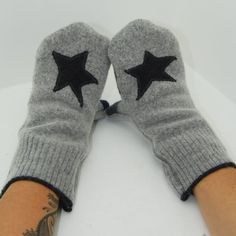 Mittens in Grey Stars  Recycled Wool  Fleece Lined by mirabeans, $30.00