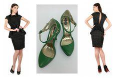 Elegant outfit/Rochie eleganta - pantofi piele cu toc/Elegant black dress - green leather high heels shoes
