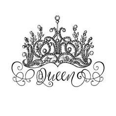Elegante corona regina disegnato a mano con scritte Grafica illustrazione in bianco e nero Perfetto Archivio Fotografico