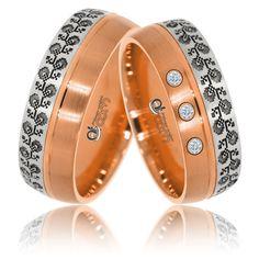 Verighete ATCOM Lux VOICHITA aur alb cu roz Bangles, Bracelets, Yellow Gold Rings, Band Rings, Nespresso, Gemstone Rings, Wedding Rings, Bling, Floral