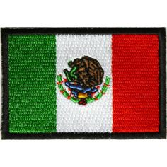 Mexico Flag inch Patch measures inches and is Embroidered in Red / White / Green / Black. The Small Patch can be sewn on or ironed on. Features plastic backing and embroidered die cut borders. Flag Patches, Iron On Patches, Mexican Flags, Red And White, Mexico, Kids Rugs, Sewing, Biker, Daisy