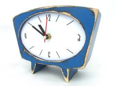 Chistmas gift, Black Friday sale, , Desk Clock Blue, Wood Table clock, Vintage alarm clock style, Gift for her, Sky blue clock, Fall trends, Blue home decor, Xmas gift for him   Wooden clock handmade and hand painted with acrylic paints, protected ecological varnish. This alarm clock