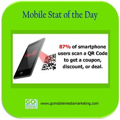 Mobile Stat of the Day: 87% of smartphone users scan a QR Code to get a coupon, discount, or deal. www.gomobilemediamarketing.com