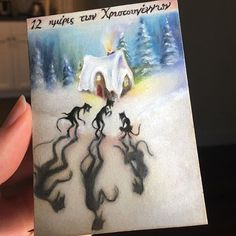 In Greek folklore the Kallikantzaros are pesky little goblins that spend all year diligently sawing at the tree of life. When they finally get close, winter draws near and they resurface to wreak havoc on earth. When they're finished having their fun on the darkest days of the year (12 days of Christmas) they return only to find that the tree has healed itself. 🌲❄️ #beautiful  #instagood #Christmas #winter #december #fantasyart #art #drawing #sketch #sketchbook #aceo #scary #tattoo #dark…