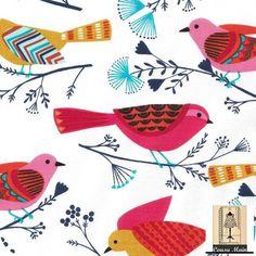 Tissu anglais - collection limitée . Modèle Birth - Oiseaux pastels sur fond blanc : Tissus Habillement, Déco par cousu-main-mercerie