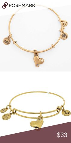 Alex And Ani Cupid's Heart Rafaelian Gold Bracelet New with gift bag. The heart is emblematic of so many things: love, sorrow, joy, affection, and compassion. Wear Cupid's heart to find love or celebrate love. Each charm hangs from Alex and Ani's Expandable Wire Bangle in a Rafaelian Gold Finish.   Designed to wear alone, or to layer for a customized look, Each bangle is adjustable down to two inches in diameter and expand to about three and a half inches in diameter. The circumference is…