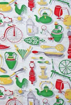"Vintage Tablecloth Printed 36"""" Sq. Print Graphics 1940S"
