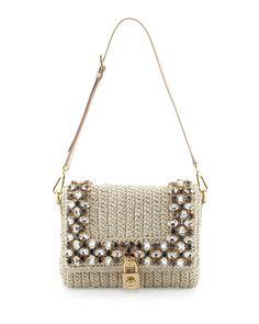 Dolce & Gabbana Dolce Crystal Raffia Shoulder Bag, Beige