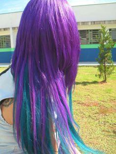 Cabelo roxo e azul  combinação lindaaa *---* hair purple and blue colorfull