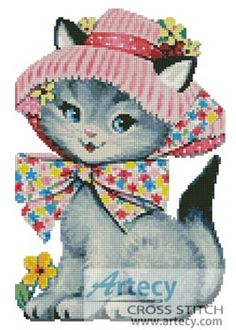 Cat in a Hat Counted Cross Stitch Pattern http://www.artecyshop.com/index.php?main_page=product_info&cPath=19_20&products_id=1018