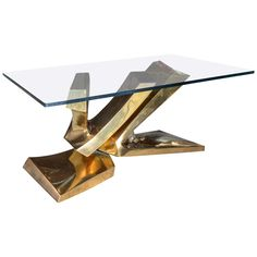 Sculptural Brass Cocktail Table by Alain Lantero   From a unique collection of antique and modern coffee and cocktail tables at https://www.1stdibs.com/furniture/tables/coffee-tables-cocktail-tables/