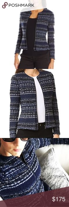 NWT Gorgeous Rebecca Taylor Jacket Amazing Rebecca Taylor peplum style jacket with metallic threading! Pair it with a tee and your favorite skinnies or a pencil skirt for work. Fabric has navy, black, gray, and silver. Great style and perfect for those cooler fall temps. Happy Poshing! 💗 Rebecca Taylor Jackets & Coats