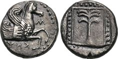 Drachm from Skepsis, Troas, c. 460-400 BCInscribed on the obverse is ΣKHΨIΩN and the forepart of Pegasos. On the reverse is a fir tree within a dotted linear border. The ancient city of Skepsis was located in the Troas region (aka the Troad), which is the modern Biga peninsula in Turkey. It is about 31 miles southeast of the ancient site of Troy. The settlement is notable for being the location where the famous library of Aristotle was kept before being moved to Pergamum and Alexandria.