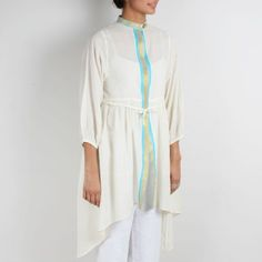 Traditional Cream Cotton Shrug With Blue & Golden Border