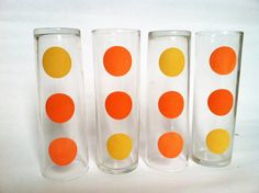 Retro Vintage Glassware Set Orange & Yellow by merrimentvintage, $17.00
