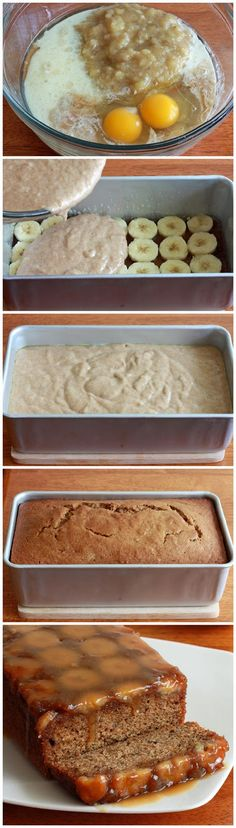 Caramel Banana Upside Down Bread - Truelifekitchen