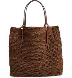Main Image - Michael Kors 'Santorini' Raffia Tote Crochet Handbags, Crochet Bags, Chunky Crochet, Market Bag, Summer Bags, Leather Design, Handmade Bags, Bag Making, Fashion Bags