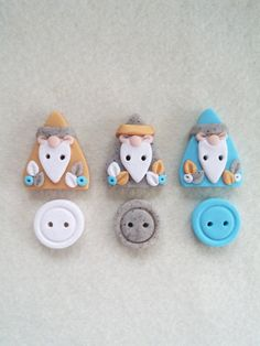 Handmade Polymer Clay Gnome Buttons  Handmade by LittleClayMarket