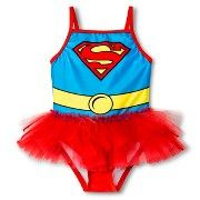 Toddler Girl's One Piece Tutu Supergirl Swimsuit