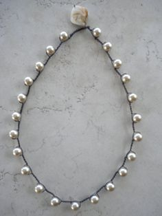 Beaded crochet freshwater pearl necklace. Shabby chic by FEWmade