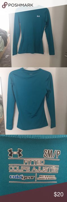 Cold Gear fitted tee - Under Armour Cold gear, fitted, l/s Tee. Perfect for winter runs or other outdoor activity. Blue shirt is fleece lined to protect you from the weather. EUC! Under Armour Tops Tees - Long Sleeve