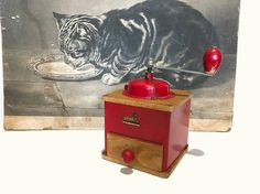 French coffee mill . GRULET  .  Peugeot , rustic grinder . Vintage  . Wood . Collectable . Old French Coffee Grinder . 1950s , Red , Kitchen