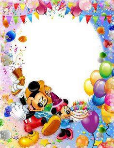 Invitaciones de CUMPLEAÑOS » Tarjetas para Descargar e imprimir Gratis Birthday Photo Frame, Happy Birthday Frame, Happy Birthday Photos, Birthday Frames, Birthday Pictures, Happy Birthday Mickey Mouse, Mickey Mouse Birthday Invitations, Birthday Greetings, Birthday Wishes