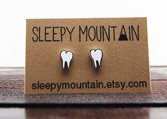 Teeth+Earrings++Molars++Tooth+Stud+Earrings++by+SleepyMountain,+$9.00