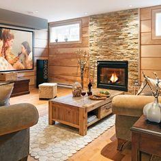 Mur d'accent texturé au sous-sol - Salon - Inspirations - Décoration et rénovation - Pratico Pratique