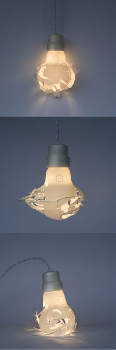 3d printed oversized bulb-shaped lamps appear to shatter as they destroy when being dropped, smashed, and even shot